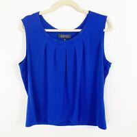 Kasper Bright Blue Pleated Neckline Sleeveless Top Size XL Stretch Knit