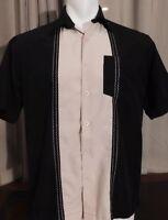 CUBAVERA Men's Embroidered Cigar Camp Shirt Charlie Sheen Short Sleeves Medium
