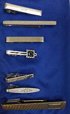 Vtg Lot of 7 Tie Clips 6 Swank (1 sterling, 5 silver tone), 1 Hadley Gold tone C
