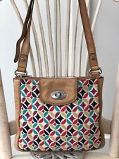 FOSSIL MADDOX Canvas Geometric / Leather Crossbody Messenger Shoulder Bag Purse
