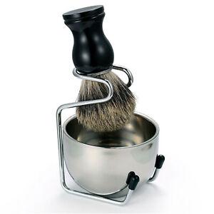 3 in 1 Badger Beard Hair Removal Brush With Stand Holder Bowl Set Shaving Kit