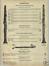 1913 PAPER AD Hanri Farny Clarionet Boehm System French Buffet Crampon Paris