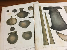 x2 Antique Prints Indian Antiquities Vessels Ax 1855 Naval Expedition