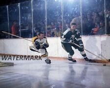 70's Bruins Wayne Cashman North Stars Ted Harris Game Action Color 8 X 10 Photo