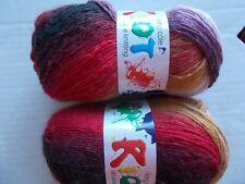 King Cole Riot wool blend gradient DK yarn, Volcano, lot of 2 (324 yd ea)
