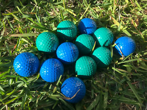 12x Golf Balls in Blue and Bright Green Colour Coloured Golf Balls Made in Korea