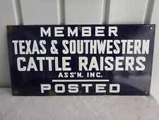 """New listing 1928 """"Texas & Southwestern Cattle Raisers Ass'n"""" Porcelain on Steel Fence Sign"""