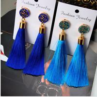 Vintage Fashion Bohemian Fringe Boho Long Tassel Hook Dangle Earrings For Women