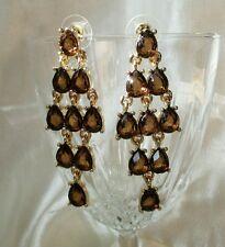 Anne Klein Earrings pierced faux topaz Chandelier Goldtone Brown vintage on card
