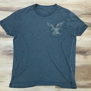 American Eagle Mens T Shirt Medium Double Sided Graphic Gray Short Sleeve