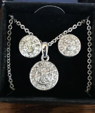 AVON silvertone pave circle necklace earring gift set