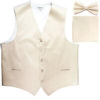 New Men's formal vest Tuxedo Waistcoat_bowtie & hankie set Ivory wedding