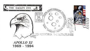 APOLLO 11 25th ANNIV 1ST MOON LANDING USA NOORDIJK FD USE DUNAHUE CACHET #2841a