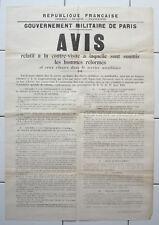 MILITARIA Affiche ancienne WWI GOUVERNEMENT MILITAIRE DE PARIS hommes réformés