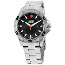 NWT Wenger Swiss Army Military 1241 Black Dial Stainless  Men's Watch 011241201C