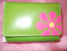 Fossil Leather Wallet Green Pink Flower Limited Edition Vintage