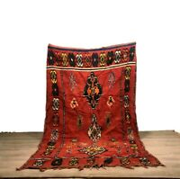 Authentic Rug Beni Ourain Tribal Handwoven Carpet Area 100%Cotton Red  9'x5'Feet