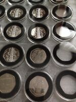 40 mm ACRYLIC COIN CAPSULES WITH INSERT FOR 50 pence coins(1,5,10,20 pcs)