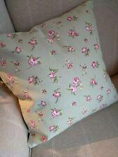 "REVERSIBLE Clarke & Clarke Rosebud Green Cushion Cover 16"" Garden Deckchair"
