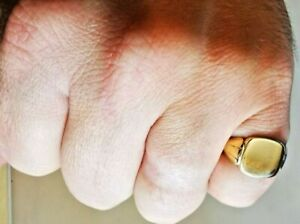Solid Gold Signet Pinky Ring, Hallmarked Birmingham 1965, Free Insured P&P #mH