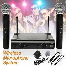 VHF PROFESSIONAL WIRELESS Microphone System Handheld 2 CORDLESS MIC Receiver