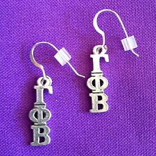 Licensed Gamma Phi Beta Sorority Lavaliere Earrings, sterling earwires