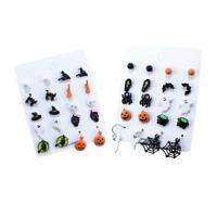 Halloween Earring Set of 10 Stud/Drop Pumpkin Witch Black Cat Spider Ghost Gift