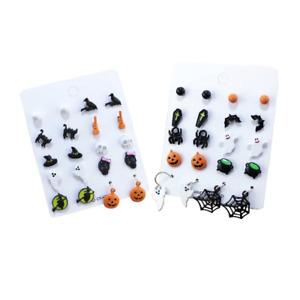 Halloween Earring Set of 10 Stud/Drop Pumpkin Witch Spider Ghost Skull Gift UK