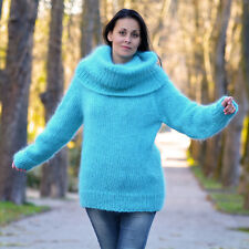 ❤ EXTRAVAGANTZA ❤ Hand Knitted Mohair Sweater Fuzzy BLUE Dress Cowlneck Pullover