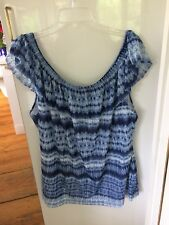 CHAPS Size 3X Blue Tie-Dye Off Shoulder Ruffled Top Plus  Woman NEW w/ TAG