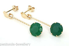 9ct Gold Green Agate drop Earrings Gift Boxed Made in UK