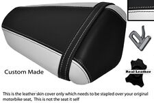WHITE & BLACK CUSTOM FITS KAWASAKI NINJA ZX6 R 09-13 PILLION LEATHER SEAT COVER