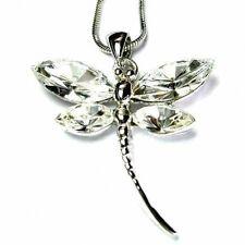 Bridal Wedding w Swarovski Crystal ~Clear White DRAGONFLY Pendant Chain Necklace