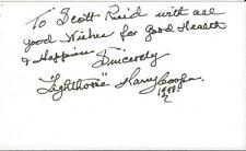 Harry Lighthouse Cooper Signed 3x5 Index Card 1998