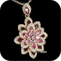 pendant necklace 18k rose gold plated made with SWAROVSKI crystal lotus amazing