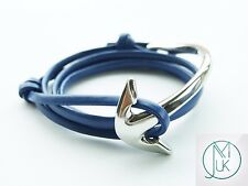 Silver Half Bent Anchor Blue Leather Bracelet Wrap Around Unisex Adjustable