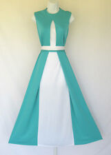 VINTAGE 1960s MOD NAT KAPLAN COUTURE DRESS & BELT TURQUOISE WHITE POLY