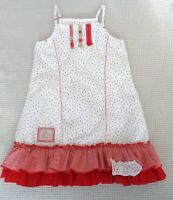 JEAN BOURGET Baby Girls Summer Sun Dress White Red Navy Blue Spotted 18-24months