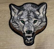 Aufbügler Aufnäher Wolf (2) Wolve Kopf 10 x 9 cm Biker Bügelbild Patch gestickt