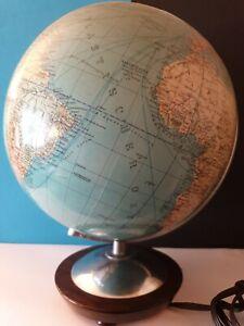 Globus vom Columbus Verlag. Beleuchtet. Aluminium Holz und Glas.