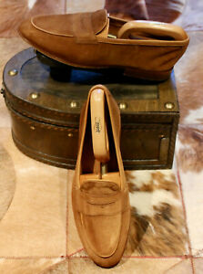Edward Green Tan Suede Unlined Loafers, Worn Once - UK 7 - Superb