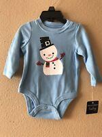 Baby Boys Long Sleeve Light Blue 0-3 Months Snowman Christmas Bodysuit NWT
