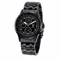 Mens Black Big Face Watch Metal Large Dial Day Date Multifunction Reloj Hombres