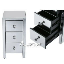 Mirrored Furniture Glass 3 X Drawer Bedside Cabinet Table Bedroom UK
