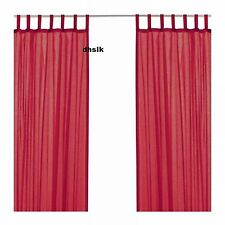 IKEA Wilma Tab Top CURTAINS Drapes Semi Sheer WHITE BLACK BLUE GREEN 0r RED