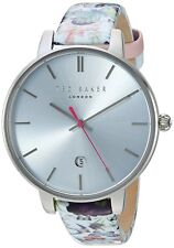 Ted Baker Women's 'KATE' Silver Dial Floral Leather Strap Watch TE10031540 RR