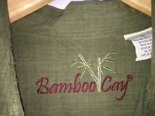 BAMBOO CAY Men's Button-Front Short Sleeve Palm Trees Green Rayon Shirt Large