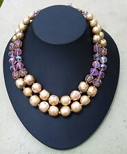 Vintage Vendome Necklace Double Strand Faux Pearl And Pink Glass Beads