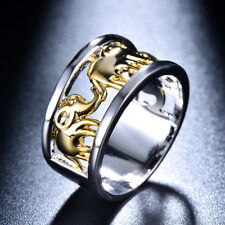 Yellow Gold/Silver Plated Lucky Elephant Hollow Rings Wedding Band Jewelry Gifts