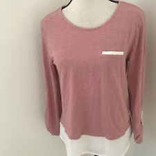 ESPRIT Women's Tunic Knit Top size L Tee Long Sleeve Pink